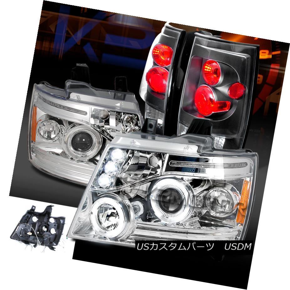 テールライト Chevy 07-14 Tahoe Suburban Chrome Halo LED Projector Headlights+Black Tail Lamps Chevy 07-14 Tahoe郊外型Chrome Halo LEDプロジェクターヘッドライト+ Bla ckテールランプ