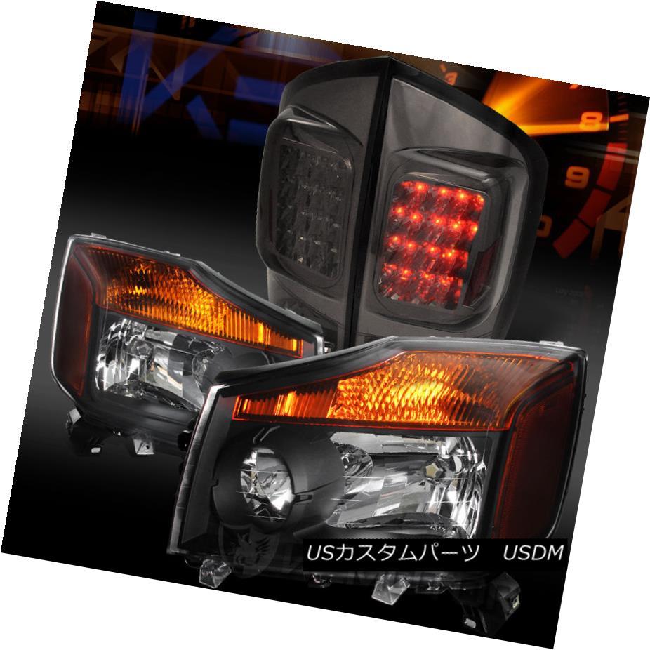 テールライト Fit 05-07 Armada Sport Utility Crystal Black Headlights+Smoke LED Tail Lamps フィット05-07アルマダスポーツユーティリティクリスタルブラックヘッドライト+スモール ke LEDテールランプ