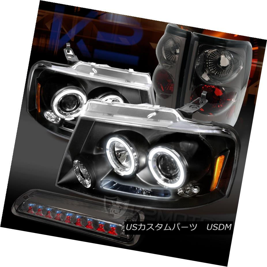 テールライト 04-08 Ford F150 Styleside Black Projector Headlights+Smoke Tail+3rd brake Light 04-08 Ford F150 Stylesideブラックプロジェクターヘッドライト+ Smo keテール+第3ブレーキライト