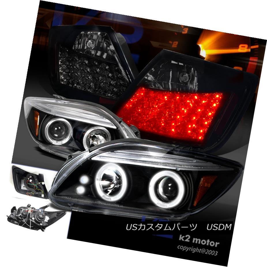 テールライト 05-10 SCION tC LED HALO BLACK PROJECTOR HEADLIGHTS+GLOSSY BLACK LED TAIL LAMPS 05-10 SCION tC LEDハローブラックプロジェクターヘッドライト+グロー SSY BLACK LEDテールランプ