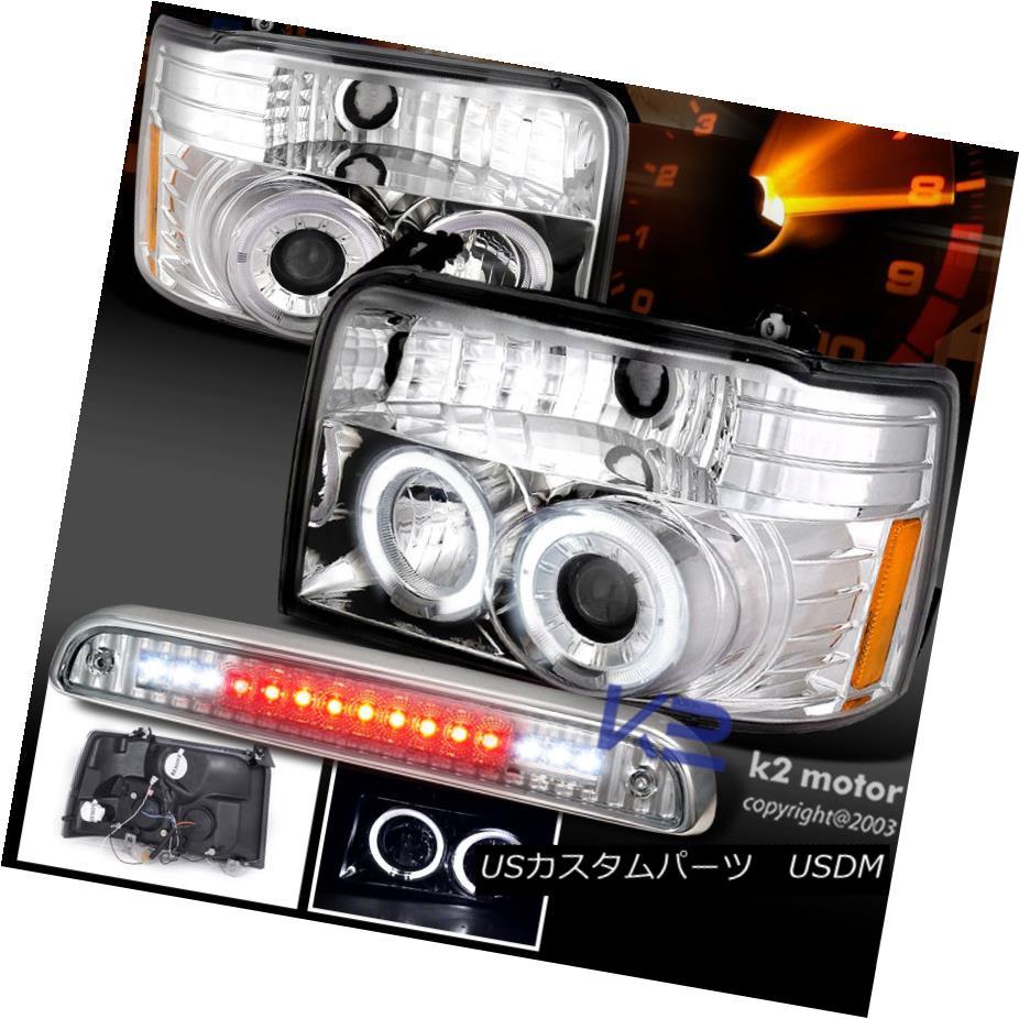 テールライト 92-96 F150 Bronco Pair Dual Halo Projector Chrome Headlight+3rd Brake LED Light 92-96 F150ブロンコ・ペアデュアル・ハロー・プロジェクタークローム・ヘッドライト+第3ブレーキLEDライト