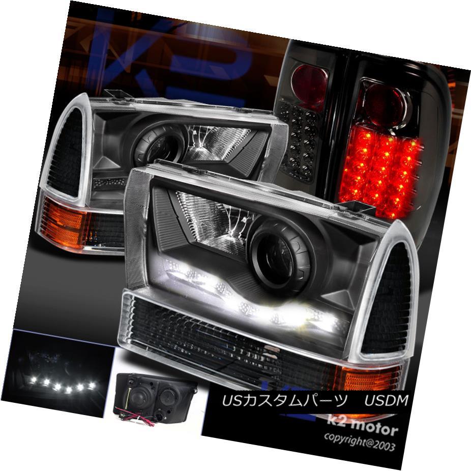 テールライト 99-04 F250 PROJECTOR SMD DRL BLACK HEADLIGHTS+CORNER SIGNAL+SMOKE LED TAIL LAMP 99-04 F250プロジェクタSMD DRL黒色ヘッドライト+ NW信号+ SMOKE LEDテールランプ
