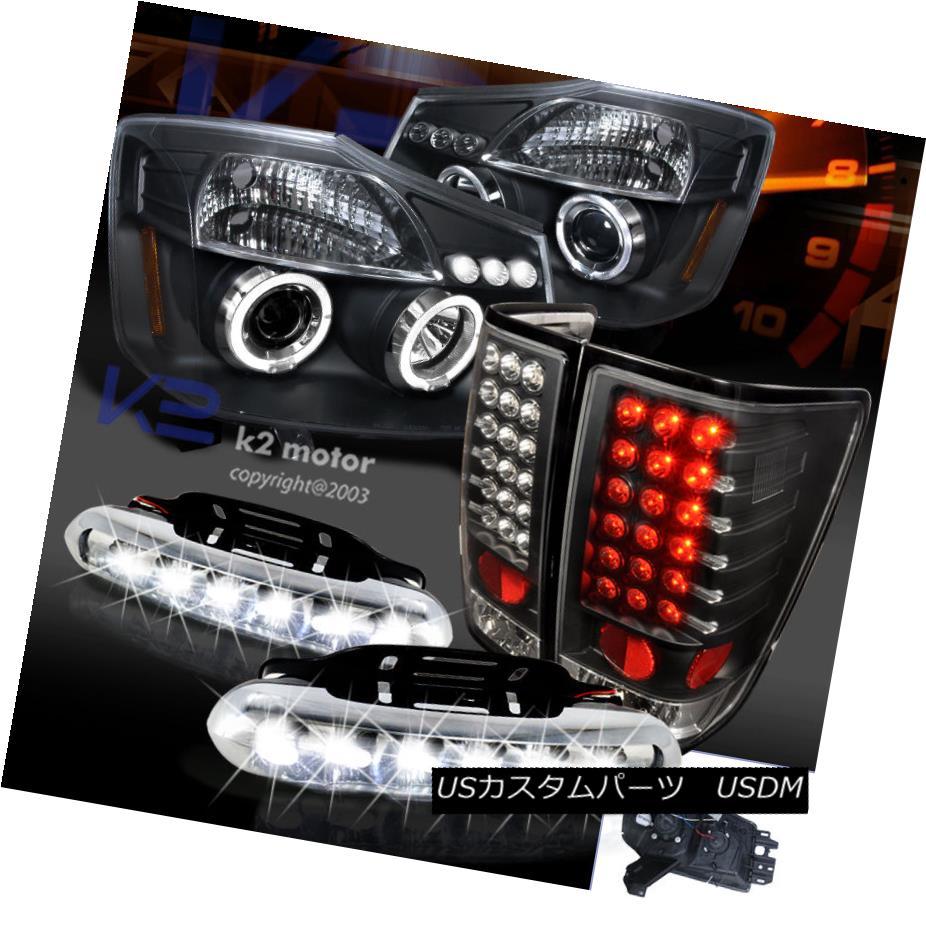 テールライト Black For 04-13 Titan Projector Halo Headlights+Tail Brake Lamps+Led Drl Fog ブラック04-13タイタンプロジェクター用ハローヘッドライト+タイ lブレーキランプ+ Led Drl Fog