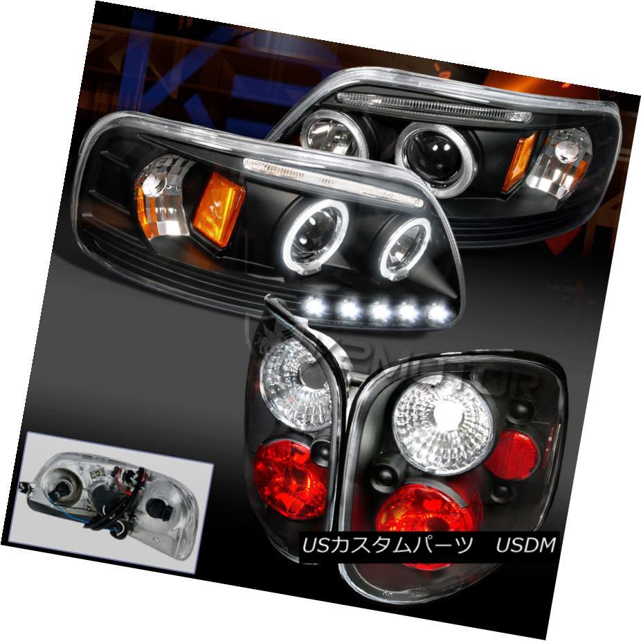 テールライト Ford 1997-2000 F150 Halo Projector LED Headlight Black+Clear Lens Tail Lamp 4pc フォード1997-2000 F150ハロープロジェクターLEDヘッドライトブラック+クリアレンズテールランプ4個
