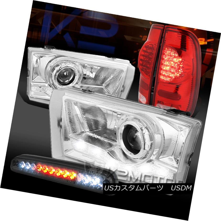 テールライト 99-04 F250 SD SMD DRL Projector Headlights+Smoke 3rd Brake+Red LED Tail Lamps 99-04 F250 SD SMD DRLプロジェクターヘッドライト+ Smo ke 3番目のブレーキ+赤色LEDテールランプ