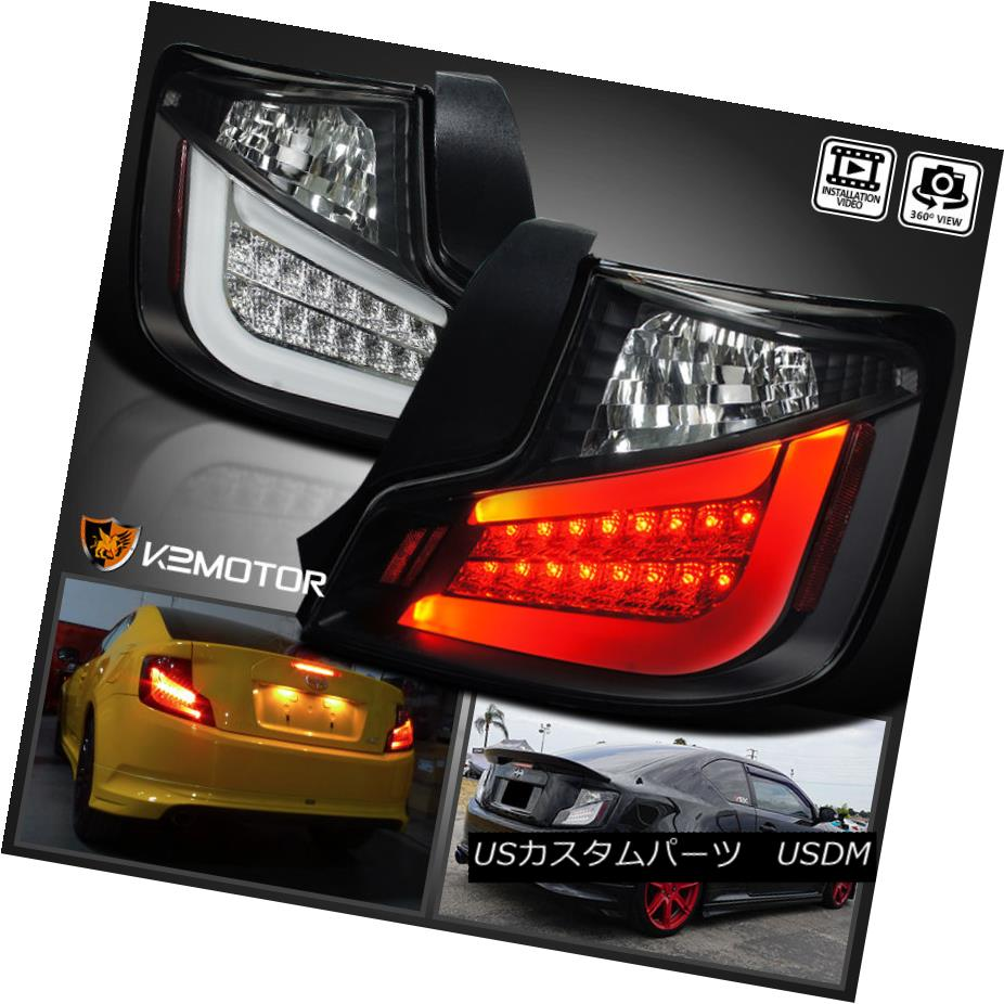 テールライト JDM Black 2011-2013 Scion tC LED Tail Lights Rear Brake Lamps Left+Right JDMブラック2011-2013シオンtC LEDテールライトリアブレーキランプ左+右