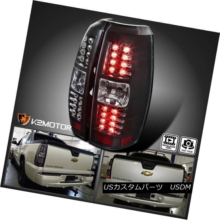 テールライト 2007-2012 Chevy Avalanche Black LED Tail Lights Lamps Left+Right 2007年?2012年シボレーアバランシェ黒色LEDテールライトランプ左+右