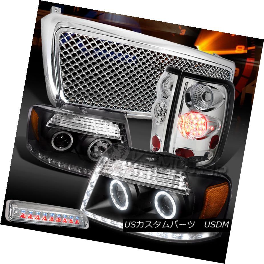 テールライト 04-08 F150 Black LED Projector Headlights+Chrome LED Tail 3rd Brake+Mesh Grille 04-08 F150ブラックLEDプロジェクターヘッドライト+ Chr ome LEDテール3rdブレーキ+メッシュグリル