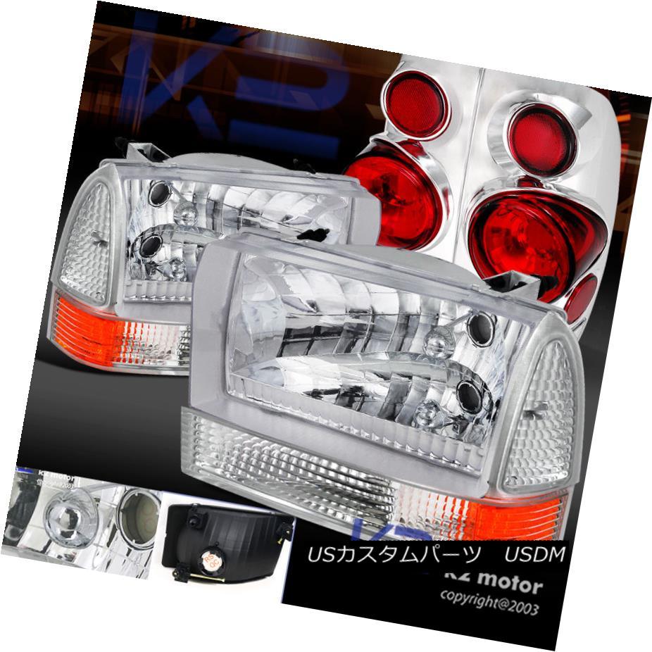 テールライト 99-04 F350 Super Duty Styleside Chrome Headlight+Corner Light+Clear Tail Lamps 99-04 F350スーパーデューティースタイライドクロームヘッドライト+トウモロコシ er Light + Clearテールランプ