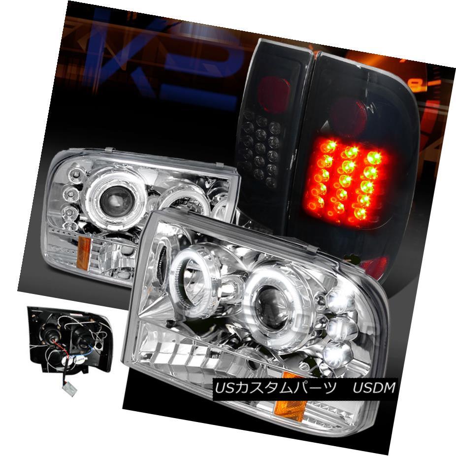 テールライト 99-04 F250 Super Duty Clear Halo Projector Headlights+Glossy Black LED Tail Lamp 99-04 F250スーパーデューティークリアハロープロジェクターヘッドライト+グロー ssyブラックLEDテールランプ