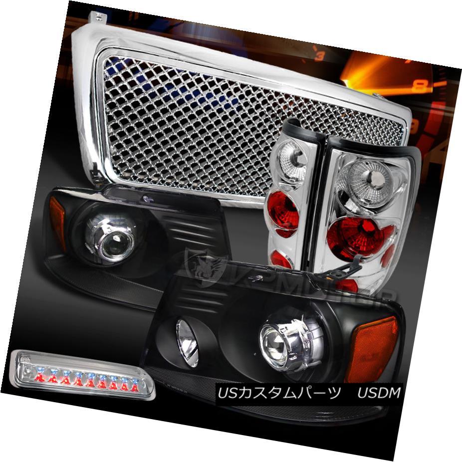 テールライト 04-08 F150 Black Projector Headlights+Clear Tail LED 3rd Stop Lamp+Bumper Grille 04-08 F150ブラックプロジェクターヘッドライト+ Cle arテールLED第3ストップランプ+バンパーグリル