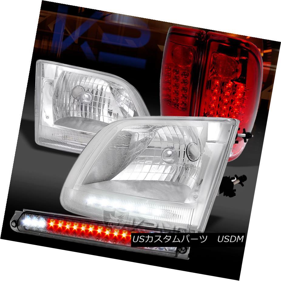 テールライト 97-03 F150 Chrome LED Headlights+Red LED Tail Lights+Smoke LED 3rd Brake Lights 97-03 F150クロームLEDヘッドライト+レッドLEDテールライト+スモークLED第3ブレーキライト