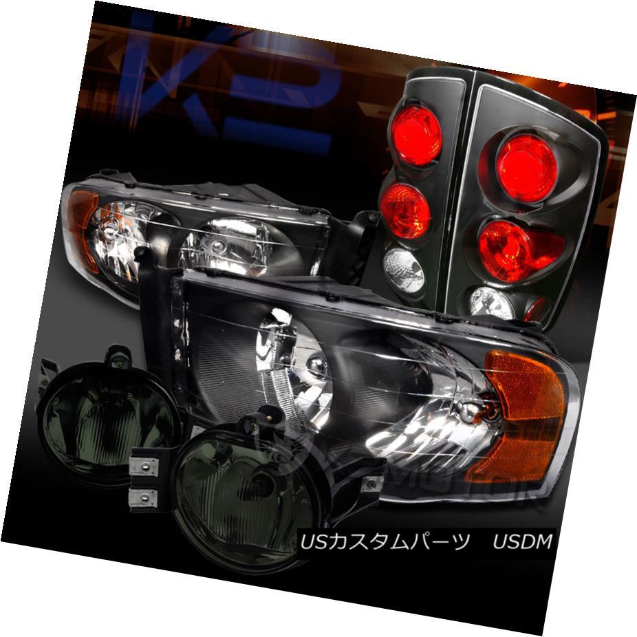 テールライト 02-05 DODGE RAM BLACK HEADLIGHTS+TAIL BRAKE LAMP+SMOKE BUMPER FOG LIGHTS 02-05 DODGE RAM BLACKヘッドライト+ TAI Lブレーキランプ+ SMOKE BUMPER FOGライト