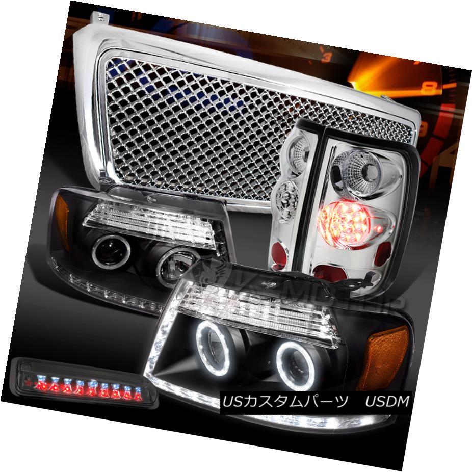 テールライト 04-08 F150 Black LED Projector Headlights+Clear LED Tail Tint 3rd Lamps+Grille 04-08 F150ブラックLEDプロジェクターヘッドライト+ Cle ar LEDテールティント第3ランプ+グリル