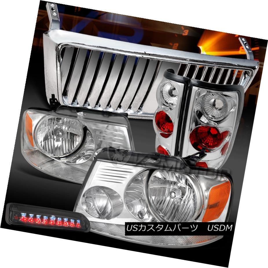 テールライト 04-08 F150 Chrome Headlights+Front Grille+Tail Lamps+Smoke LED 3rd Brake 04-08 F150クロームヘッドライト+ ntグリル+テールランプ+スモークLED第3ブレーキ