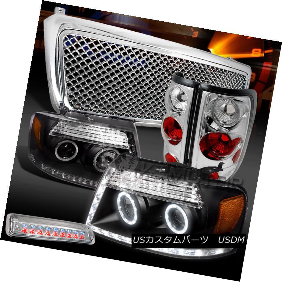 テールライト 04-08 F150 Black LED DRL Headlights+Clear Tail LED 3rd Stop Lamps+Hood Grille 04-08 F150ブラックLED DRLヘッドライト+ Cle arテールLED第3ストップランプ+フードグリル