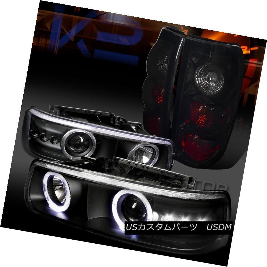 テールライト 99-02 Silverado Black Halo SMD LED Projector Headlights+Glossy Black Tail Lamps 99-02 Silverado Black Halo SMD LEDプロジェクターヘッドライト+グロー ssyブラックテールランプ