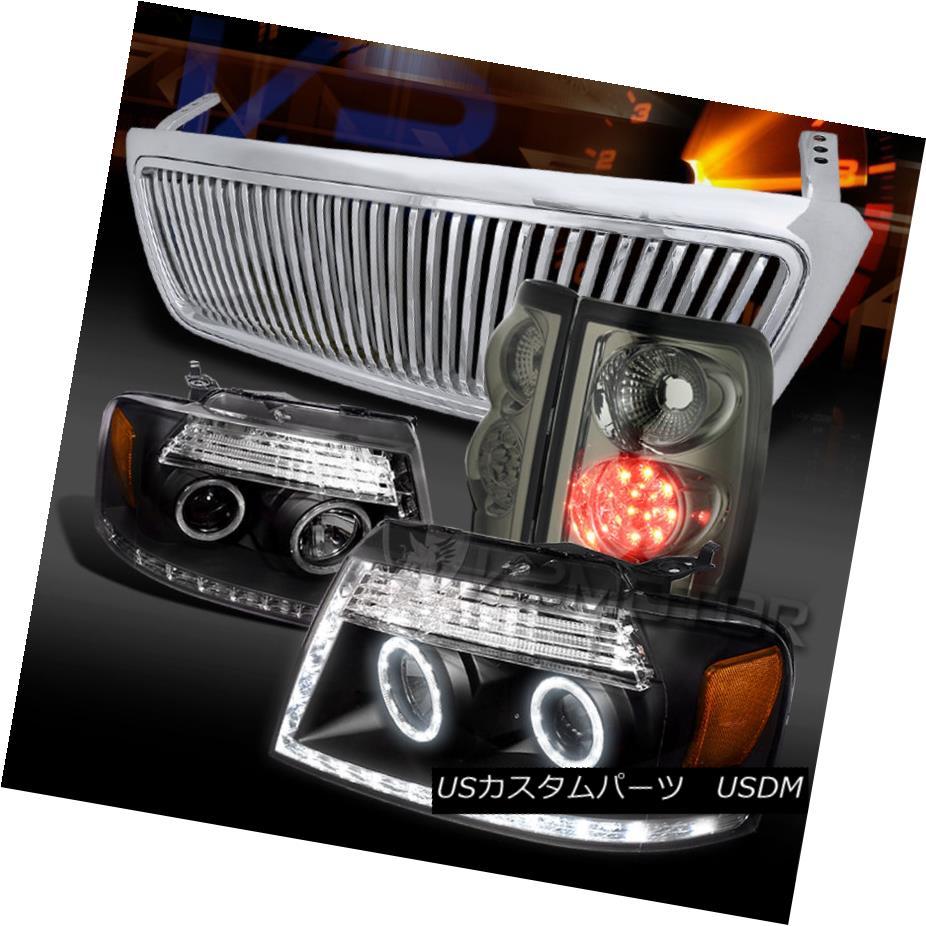 テールライト 04-08 F150 Black LED DRL Projector Headlight+Smoke LED Tail Lamp+Vertical Grille 04-08 F150ブラックLED DRLプロジェクターヘッドライト+スモーク e LEDテールランプ+垂直グリル