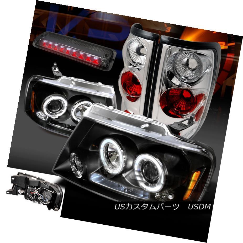 テールライト 04-08 F150 Black Halo Projector Headlights+Clear Tail Lamps+Smoke LED 3rd Brake 04-08 F150ブラックハロープロジェクターヘッドライト+ Cle arテールランプ+ Smoke LED 3rdブレーキ