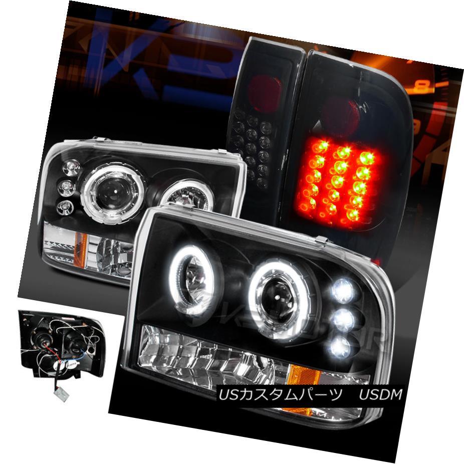 テールライト 99-04 F250/350 Super Duty Halo Projector Headlights+Glossy Black LED Tail Lamps 99-04 F250 / 350スーパーデューティーハロープロジェクターヘッドライト+グロー ssyブラックLEDテールランプ