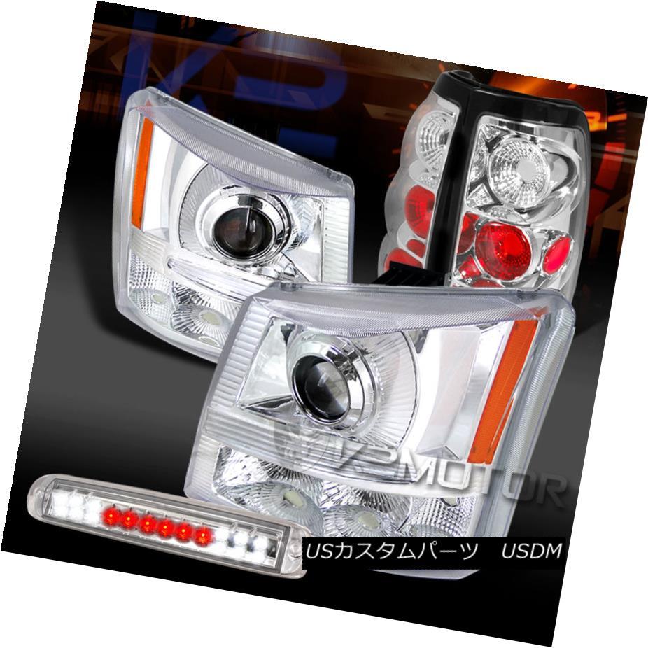 テールライト 03-06 Silverado Chrome Projector Headlights+Tail Lamps+LED 3rd Brake Light 03-06 Silverado Chromeプロジェクターヘッドライト+タイ lランプ+ LED第3ブレーキライト