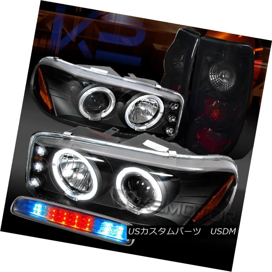 テールライト 99-03 GMC Sierra Projector Headlights+Clear LED 3rd Brake+Glossy Black Tail Lamp 99-03 GMC Sierraプロジェクターヘッドライト+ Cle ar LED第3ブレーキ+光沢のあるブラックテールランプ