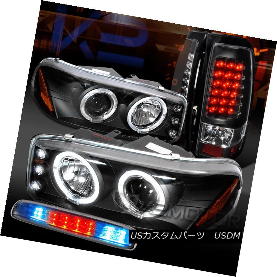 テールライト GMC 04-06 Sierra Black Projector Headlights+LED Tail Lamps+Clear LED 3rd Brake GMC 04-06シエラブラックプロジェクターヘッドライト+ LEDテールランプ+クリアLED第3ブレーキ