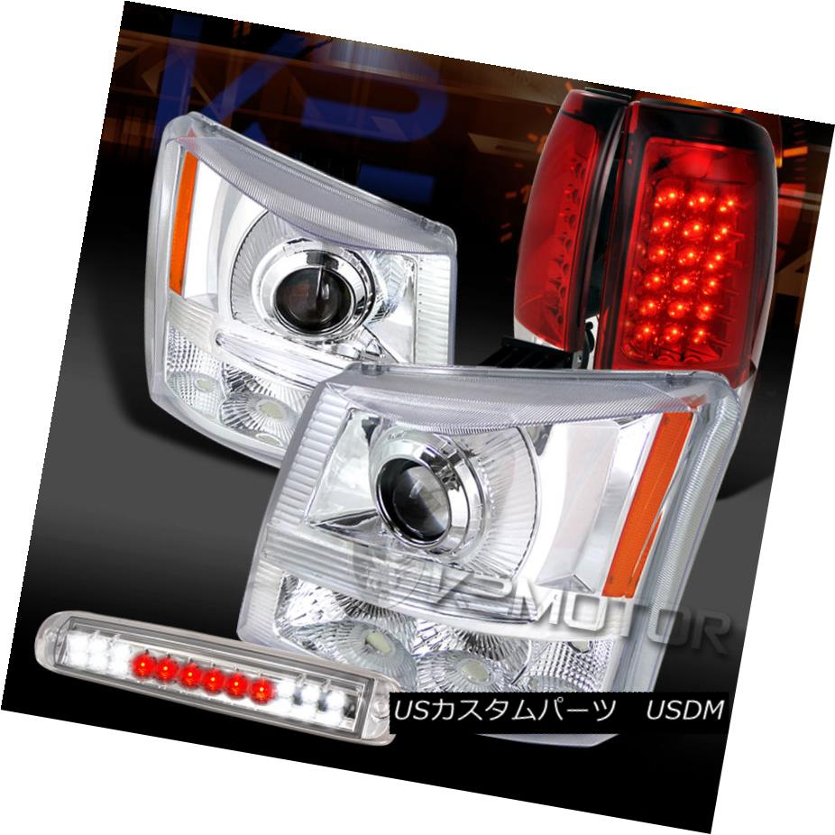 テールライト 03-06 Silverado Chrome Projector Headlights+LED 3rd Brake+Red LED Tail Lamps 03-06 Silverado Chromeプロジェクターヘッドライト+ LED第3ブレーキ+赤色LEDテールランプ