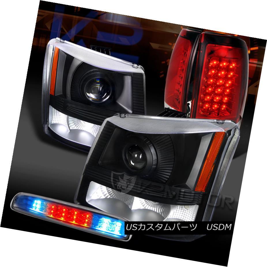 テールライト 03-06 Silverado Black Projector Headlights+Red LED Tail Clear LED 3rd Stop Lamps 03-06 Silveradoブラックプロジェクターヘッドライト+レッドLEDテールクリアLED第3ストップランプ