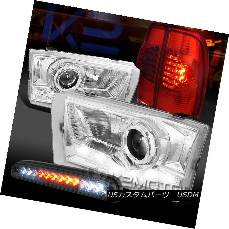 テールライト 99-04 F250 SD SMD DRL Projector Headlights+Red Tail Lamps+Tinted LED 3rd Brake 99-04 F250 SD SMD DRLプロジェクターヘッドライト+レッドテールランプ+ Tinted LED 3rdブレーキ