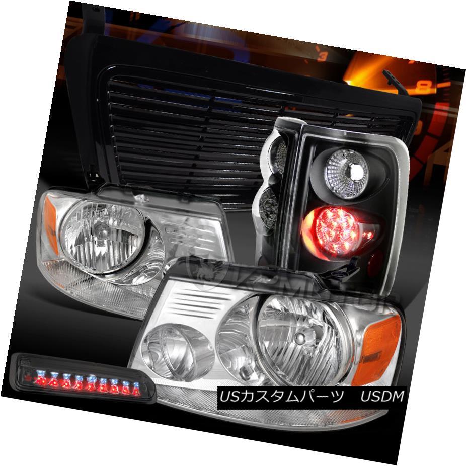 テールライト 04-08 F150 Chrome Headlights+Smoke 3rd Brake+Black LED Tail Lamps+Billet Grille 04-08 F150クロームヘッドライト+スモーク ke第3ブレーキ+ブラックLEDテールランプ+ビレットグリル