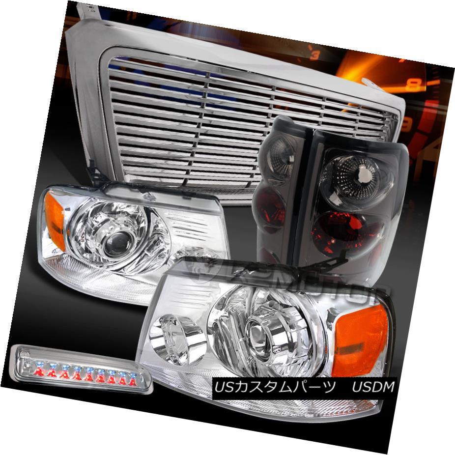 テールライト 04-08 F150 Chrome Projector Headlights+Grille+LED 3rd Brake+Smoke Tail Lamps 04-08 F150クロームプロジェクターヘッドライト+グリル lle + LED第3ブレーキ+煙テールランプ