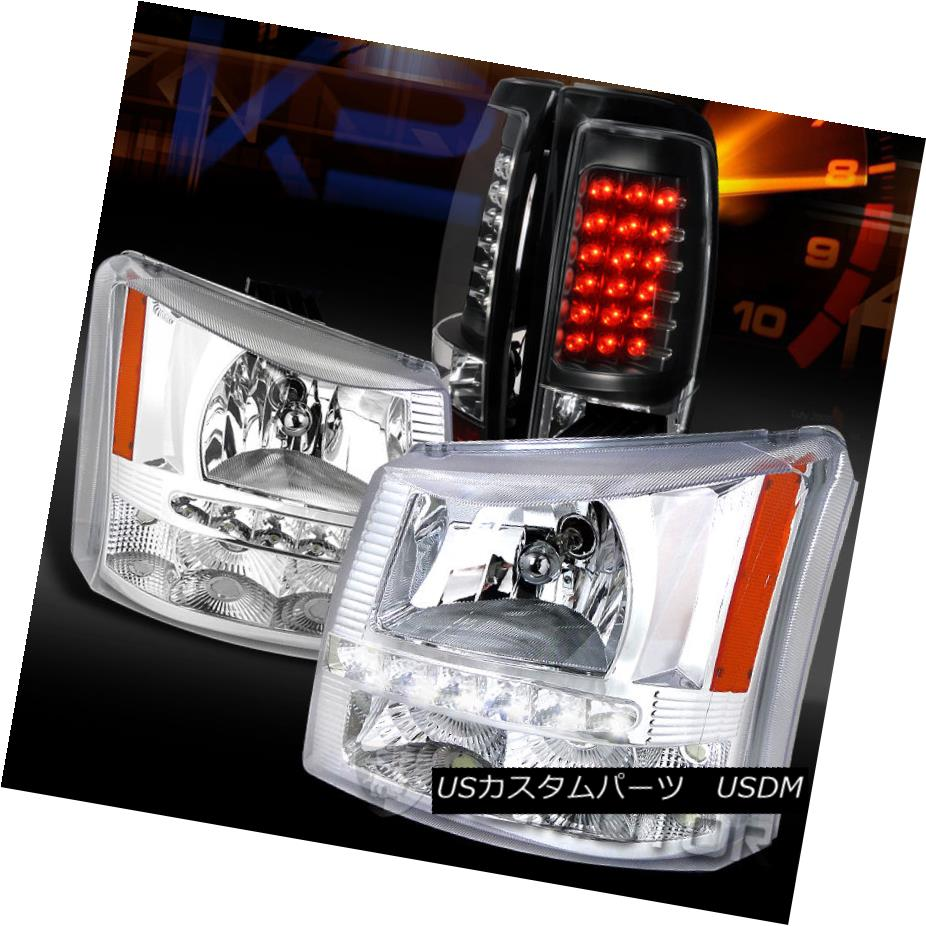 テールライト 03-06 Silverado Clear SMD DRL Headlights Bumper Lamps+Black LED Tail Lights 03-06 Silverado Clear SMD DRLヘッドライトバンパーランプ+ブラックLEDテールライト