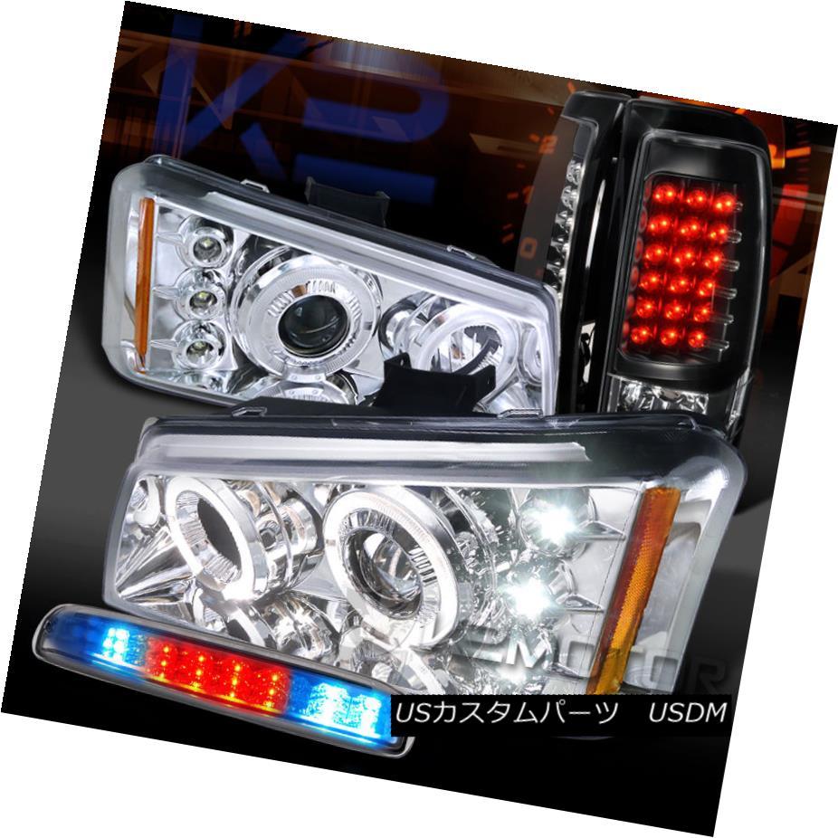 テールライト 03-06 Silverado Chrome Halo Projector Headlights+3rd Brake+Black LED Tail Lamps 03-06 Silverado Chrome Haloプロジェクターヘッドライト+第3ブレーキ+ブラックLEDテールランプ