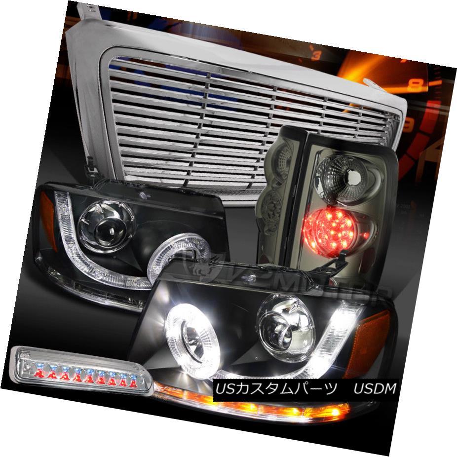 テールライト 04-08 F150 Black SMD Projector Headlights+Grille+3rd Brake+Smoke LED Tail Lamps 04-08 F150ブラックSMDプロジェクターヘッドライト+グリル lle + 3rdブレーキ+スモークLEDテールランプ