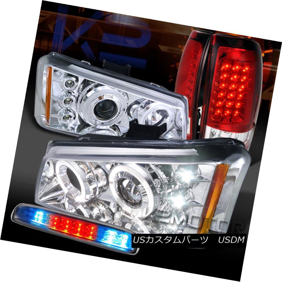 テールライト 03-06 Silverado Chrome Halo Projector Headlights+3rd Brake+Red LED Tail Lamps 03-06 Silverado Chrome Haloプロジェクターヘッドライト+ 3番ブレーキ+赤色LEDテールランプ