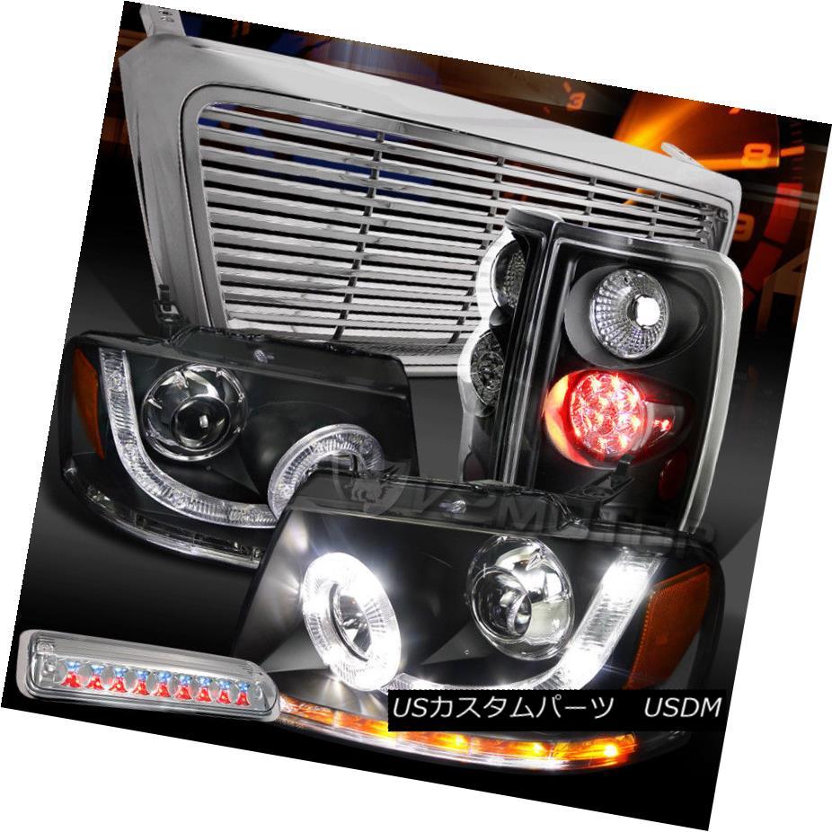 テールライト 04-08 F150 Black SMD Projector Headlights+LED Tail Lamps+Chrome 3rd Brake+Grille 04-08 F150ブラックSMDプロジェクターヘッドライト+ LEDテールランプ+クローム第3ブレーキ+グリル