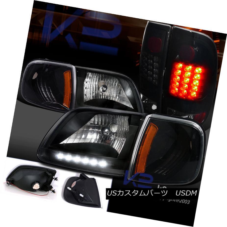 テールライト 97-03 F150 Black Headlight w/ LED DRL+Corner Lamp+Smoke Tint LED Tail Light 97-03 F150ブラックヘッドライトLED / DRL +コーナーランプ+スモークティントLEDテールライト