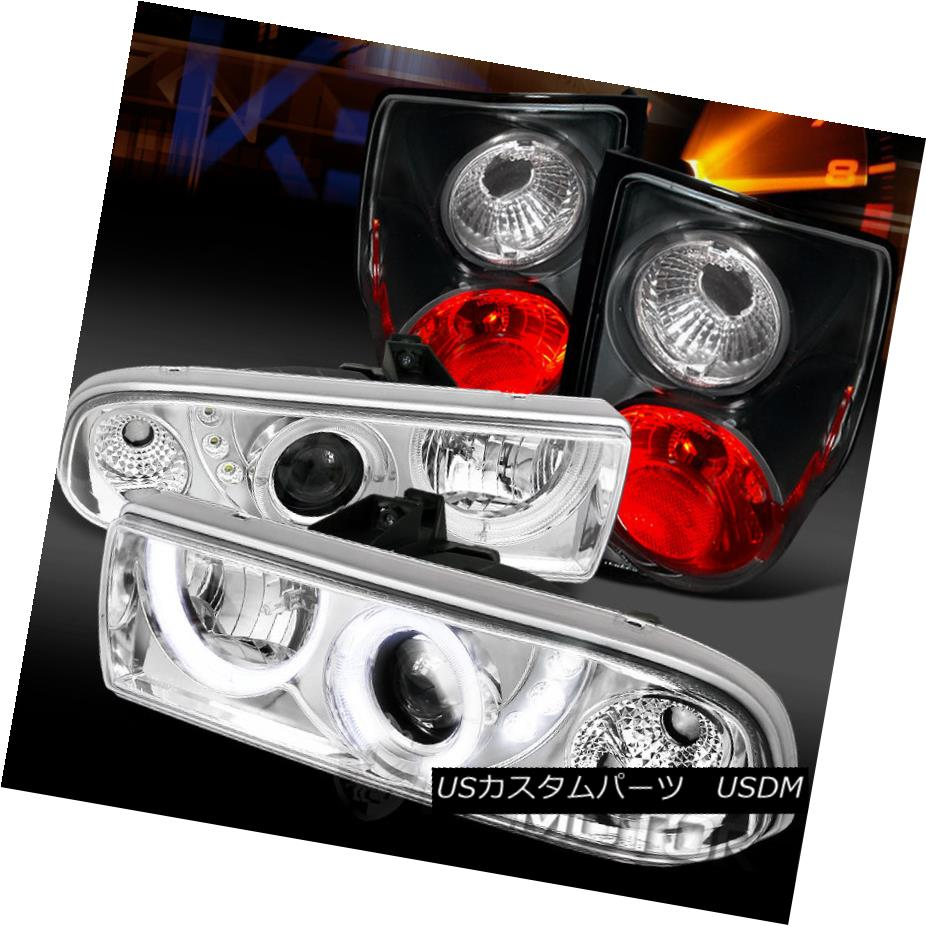 テールライト 98-04 Chevy S10 Chrome LED Halo Projector Headlights+Black Tail Lamps 98-04 Chevy S10 Chrome LEDハロープロジェクターヘッドライト+ Bla ckテールランプ