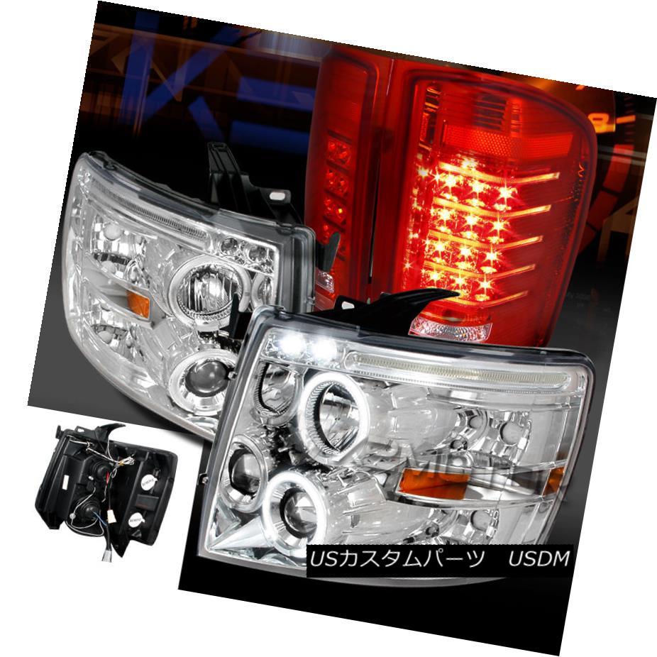 テールライト 07-13 Silverado 1500 Chrome Halo Projector Headlights+Red LED Tail Brake Lamps 07-13 Silverado 1500クロームハロープロジェクターヘッドライト+レッドLEDテールブレーキランプ