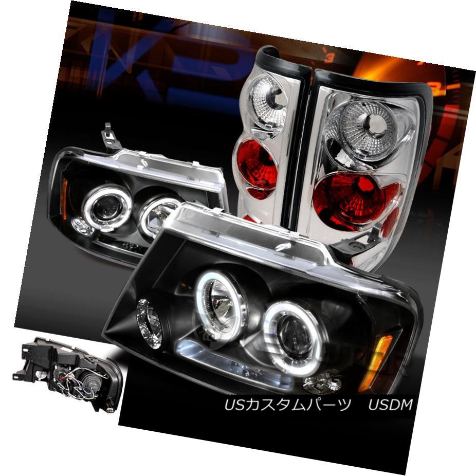 テールライト 04-08 F150 Black Halo LED Projector Headlights+Clear Rear Tail Brake Lamps 04-08 F150ブラックHalo LEDプロジェクターヘッドライト+ Cle arリアテールブレーキランプ