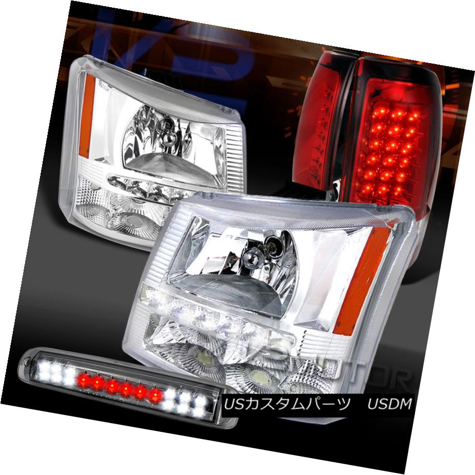 テールライト 03-06 Silverado SMD DRL Clear Headlights+Red LED Tail Lamps+Tint LED 3rd Brake 03-06 Silverado SMD DRLクリアヘッドライト+レッドLEDテールランプ+ティントLED第3ブレーキ