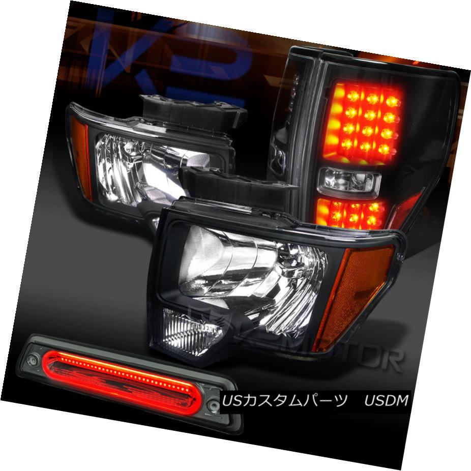 テールライト 09-14 Ford F150 Black Headlights+LED Tail Lamps+Smoke LED 3rd Brake 09-14 Ford F150ブラックヘッドライト+ LEDテールランプ+ Smoke LED 3rdブレーキ