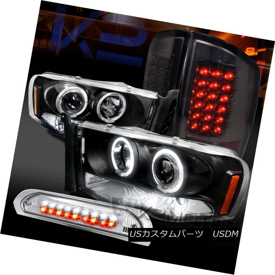 テールライト 02-05 Ram Black Halo Projector Headlights+Smoke LED Tail Lamps+Clear 3rd Brake 02-05ラムブラックハロープロジェクターヘッドライト+スモー ke LEDテールランプ+クリア第3ブレーキ