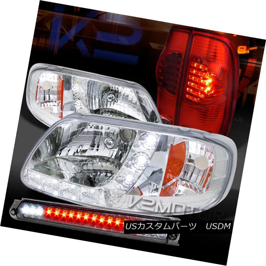 テールライト 97-03 F150 Chrome SMD DRL Headlights+Smoke 3rd Brake+Red LED Tail Lamps 97-03 F150 Chrome SMD DRLヘッドライト+ Smo ke第3ブレーキ+赤色LEDテールランプ