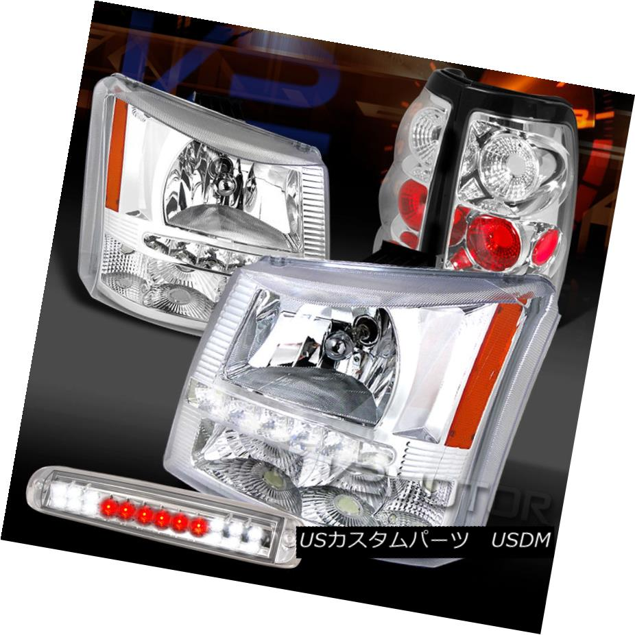 テールライト 03-06 Silverado Chrome SMD DRL Headlights+Tail Lamps+LED 3rd Brake Light 03-06 Silverado Chrome SMD DRLヘッドライト+タイ lランプ+ LED第3ブレーキライト