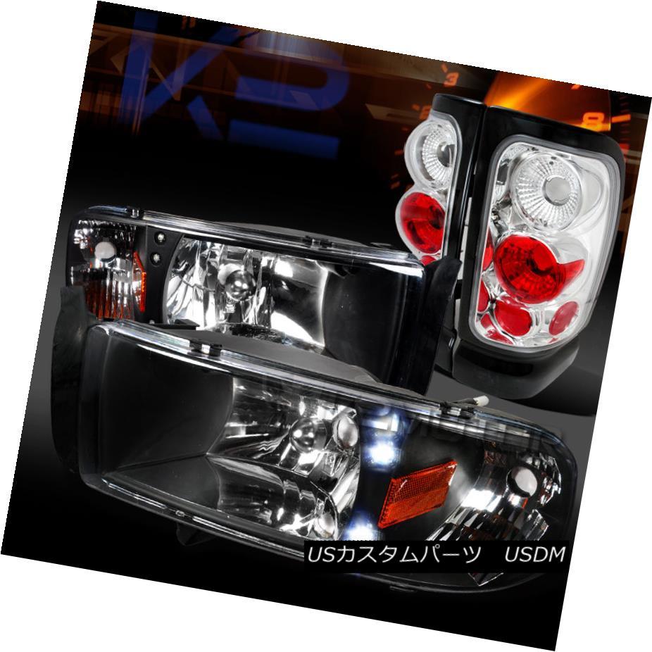 テールライト Dodge 94-01 Ram Pickup Black LED Headlights+Clear Rear Tail Lamps ダッジ94-01ラムピックアップブラックLEDヘッドライト+ Cle arリアテールランプ