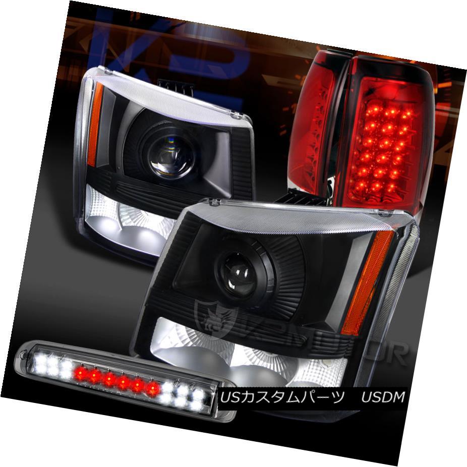 テールライト 03-06 Silverado Black Projector Headlights+Red LED Tail Lamp+Smoke LED 3rd Brake 03-06 Silveradoブラックプロジェクターヘッドライト+レッドLEDテールランプ+ Smoke LED 3rdブレーキ