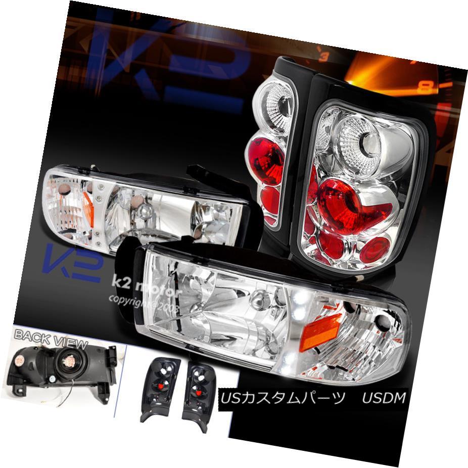 テールライト 94-01 Ram 1500/2500/3500 Chrome LED Headlights+Tail Lamps Clear Brake Lights 94-01 Ram 1500/2500/3500クロームLEDヘッドライト+タイ lランプクリアブレーキライト