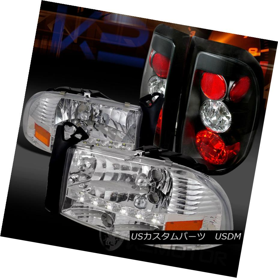 テールライト 97-04 Dakota Chrome LED DRL Crystal Headlights+Black Tail Lamps 97-04 Dakota Chrome LED DRLクリスタルヘッドライト+ Bla ckテールランプ